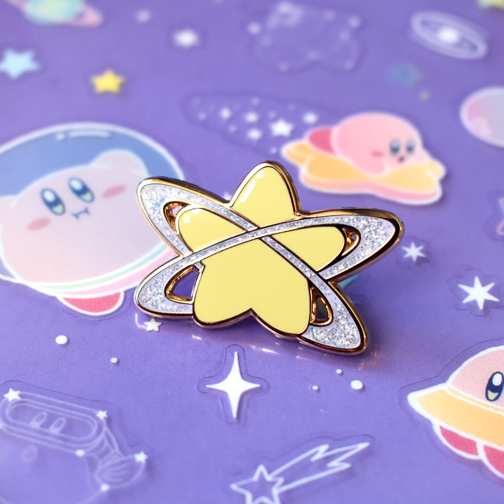 Pop Star Planet Gold Enamel Pin