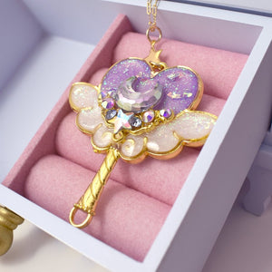 Purple x Gold Magic Moon Wand Necklace