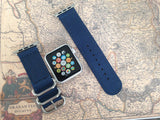 Apple Watch Strap (ZULU Style) Blue Band with Silver Rings - Silicon Geeks