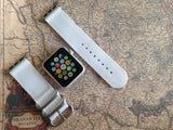 Apple Watch Strap (ZULU Style) White Band with Silver Rings - Silicon Geeks