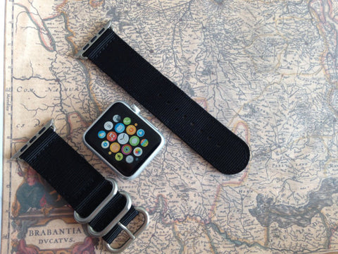 Apple Watch Strap (ZULU Style) Black Band with Silver Rings - Silicon Geeks