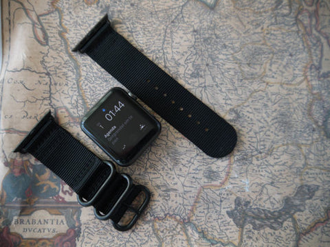 Apple Watch Strap (ZULU Style) Black Band with Black Rings - Silicon Geeks