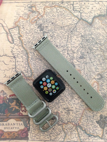 Apple Watch Strap (ZULU Style) Light Green Band with Silver Rings - Silicon Geeks