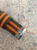 Apple Watch Strap (ZULU Style) Orange-Green Band Color - Silicon Geeks
