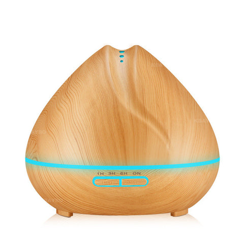 Oil Diffuser Ultrasonic Air Humidifier with Wood Grain 7 Colors LED Lights (400ml) - Silicon Geeks