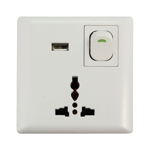 USB Wall Power Supply With On/Off Switch (Universal Socket) - Silicon Geeks