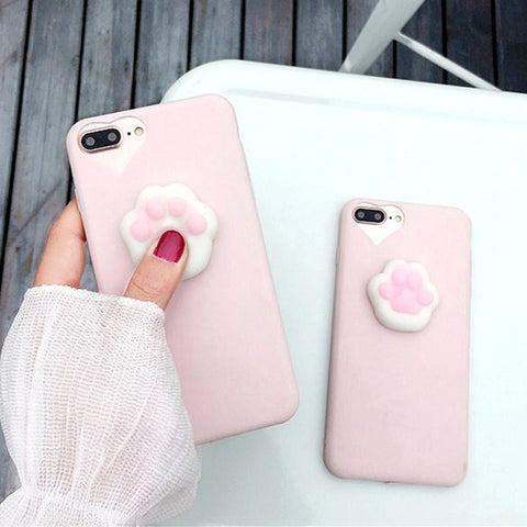 3D Cartoon Cute Squishy Cat Claw Case for Apple iPhone - Silicon Geeks
