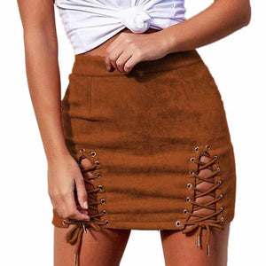 Autumn Lace Up Leather Suede Pencil Skirt High Waist