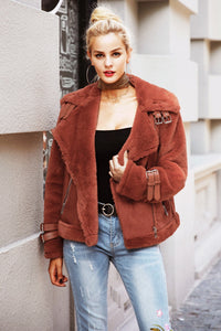 leather suede lamb fur female overcoat Casual turn-down winter coat 2019