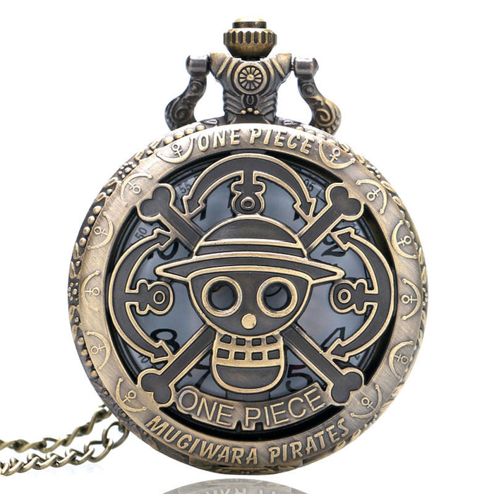 One Piece Theme Skull Pattern Pocket Watch Quartz Watch for Men Women Gift