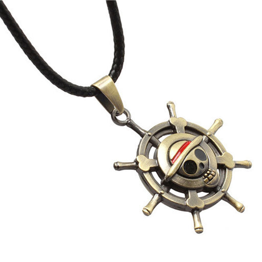 Hot Selling One Piece Cool Luffy Straw Hat Skull Necklace Anime Figure Pendant For Men Women