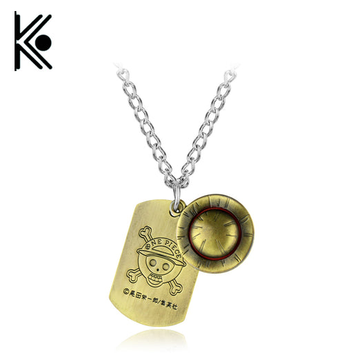 ONE PIECE Necklace Soldier Luffy Dog tag Necklace Wool Hat Road Fly Flying Peripheral Alloy Double Pendant Classic Jewelry