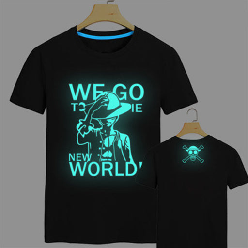 2017 New Japan anime one piece T Shirt Luffy Zoro fluorescent t shirt men one piece Tees Tops Men Clothes