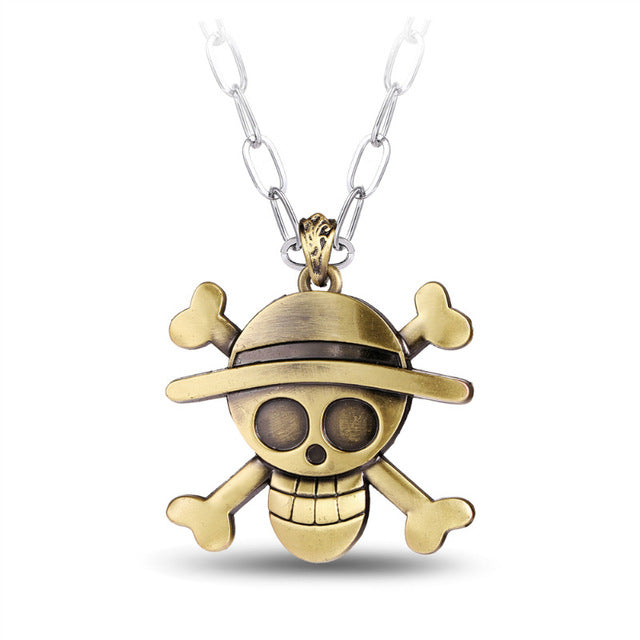 Animation Jewelry Fashion One Piece Necklace Collares Simple Skeleton Bronze Pendant Rope Chain Necklace Men Jewelry