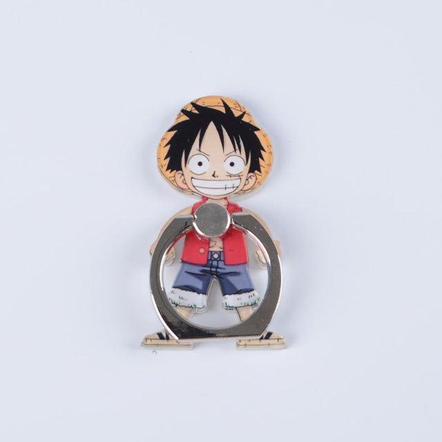 Koteta Anime One Piece Luffy Straw Hat Sanji 360 Degree Metal Finger Ring Mobile Phone Smartphone Stand Holder for iphone ipad