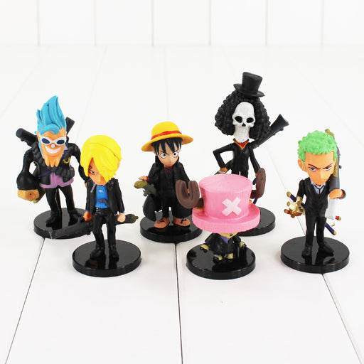 6pcs/set One Piece PVC Action Figure Toys Black Coat And Gun Model Figurine Collection Toy Free Shipping