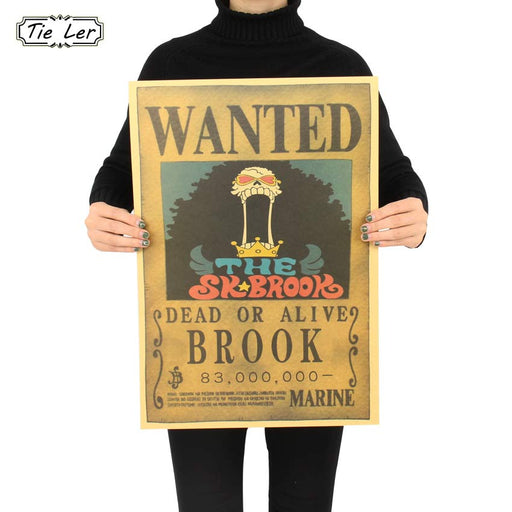 Large Size Vintage Paper Retro Anime Poster Wanted One Piece Poster Reward That I Brook Poster Home Decor Wall Sticker