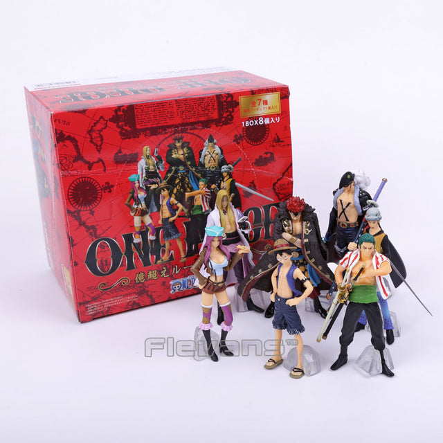 Anime One Piece Super New Stars 7pcs/set Luffy Zoro Eustass Kid Hawkins X. Drake Trafalgar Law Jewelry Bonney PVC Figures Toys