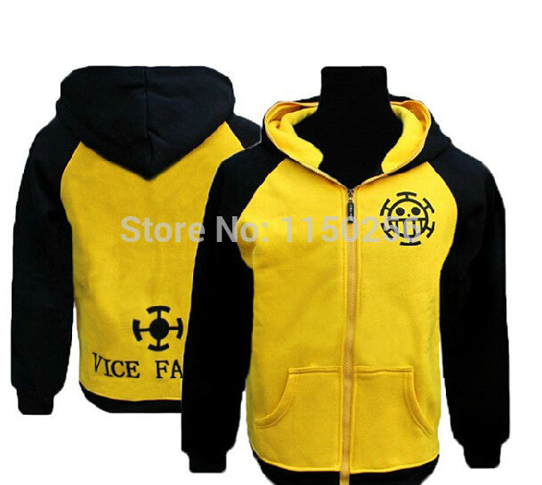 Anime One Piece Cosplay Costume Trafalgar Law Hoodies Jacket Coat M-XXL Size Cotton Blende
