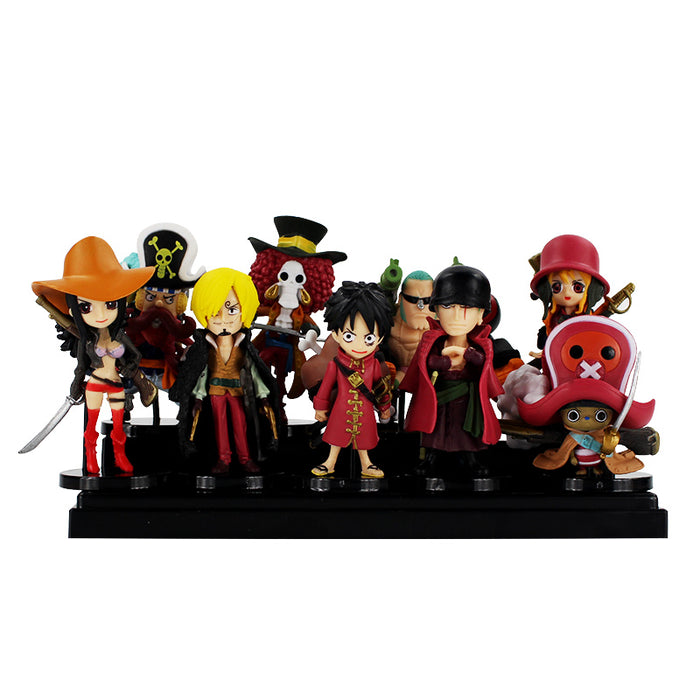 9styles One Piece Cosplay Straw Hat Pirates Luffy Zoro Usoop Sanji Nami Q Version PVC Kits Action Figures Toys