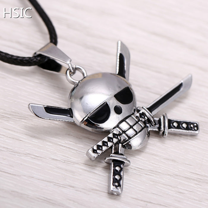 HSIC Hot Anime One Piece Silver Metal Necklace Roronoa Zoro Logo Pendant Cosplay Accessories Jewelry  for Kids