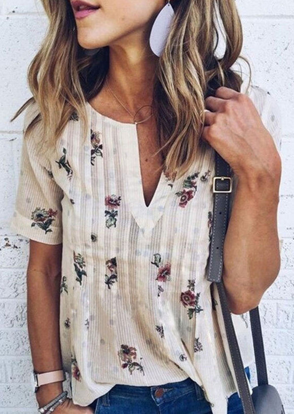 f82e82e1246c26 Floral V-Neck Short Sleeve Blouse without Necklace - Brussels Superstore