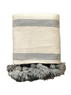 Large Cream & Gray Striped Cotton Pom Pom Blanket