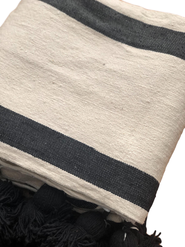 Large Cream & Black Striped Cotton Pom Pom Blanket
