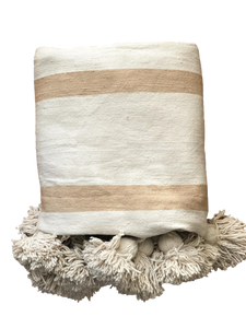 Large Cream & Oatmeal Striped Cotton Pom Pom Blanket | Cream Pom Poms