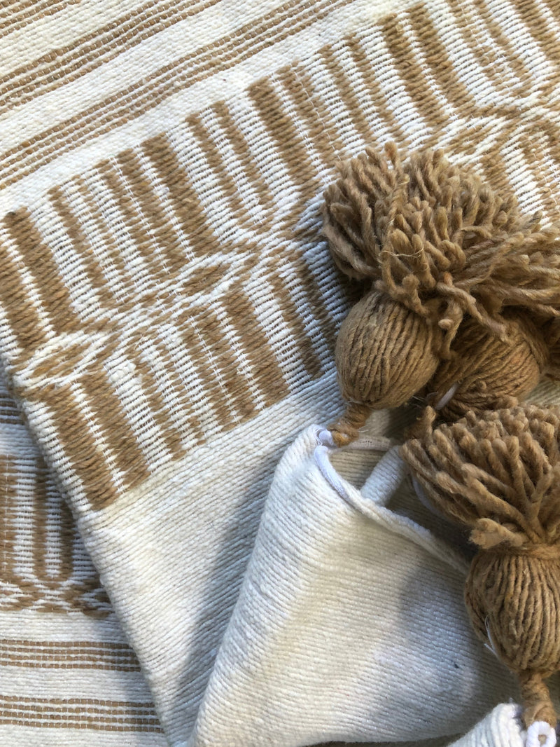 Cream & Oatmeal Cotton Pom Pom Throw