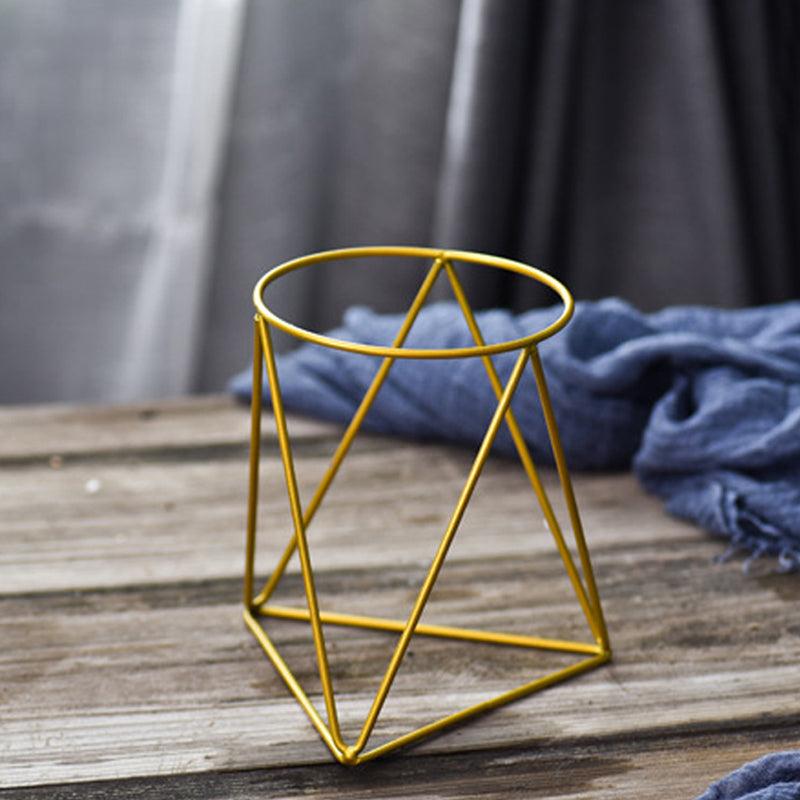 Geometric Iron Planter with Ceramic Plant Pot