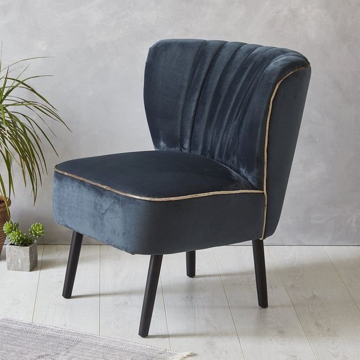 Lula Cocktail Chair, Ink with crushed Velvet piping