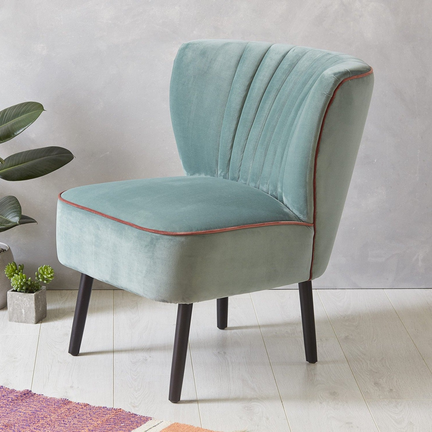 Lula Cocktail Chair, Mint with Blush Pink Piping