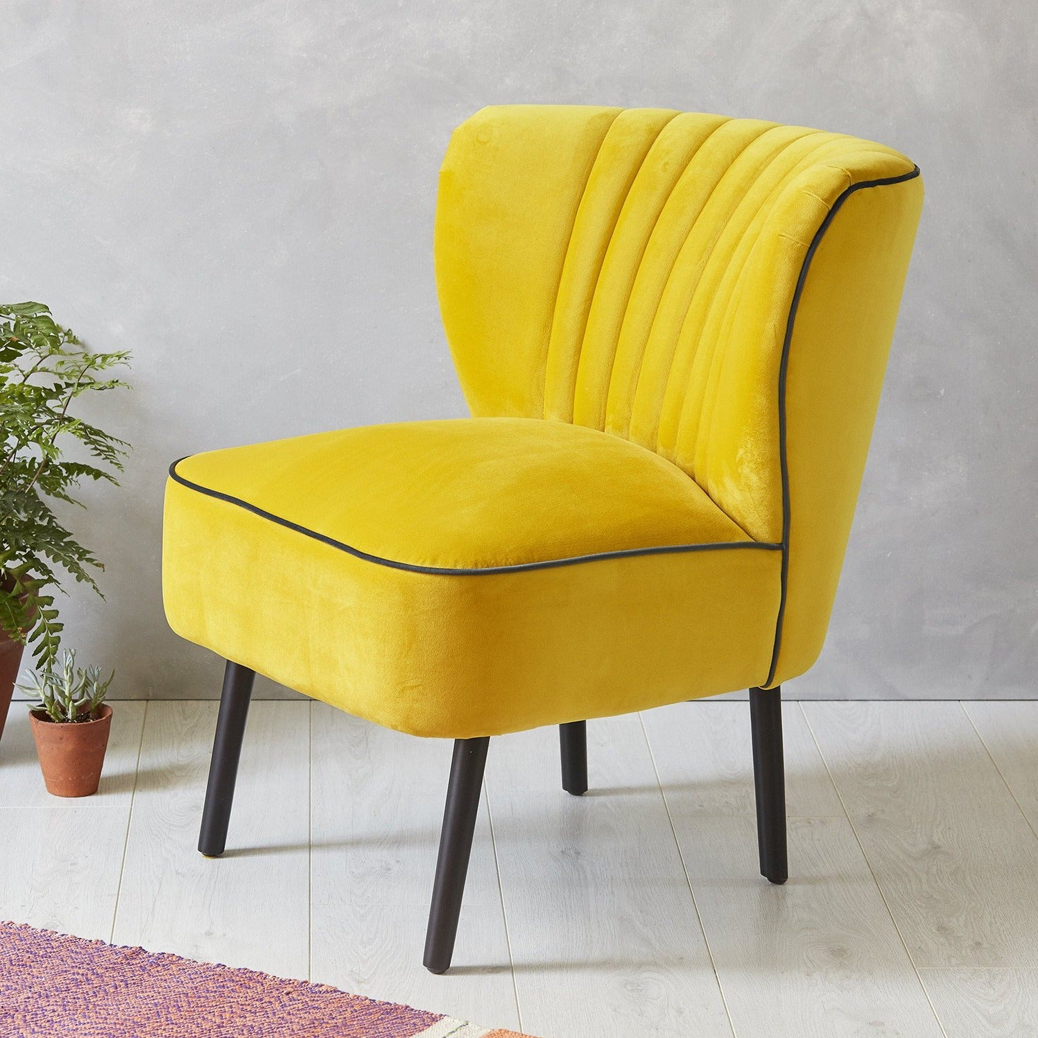 Lula Cocktail Chair, Yellow with Ink piping