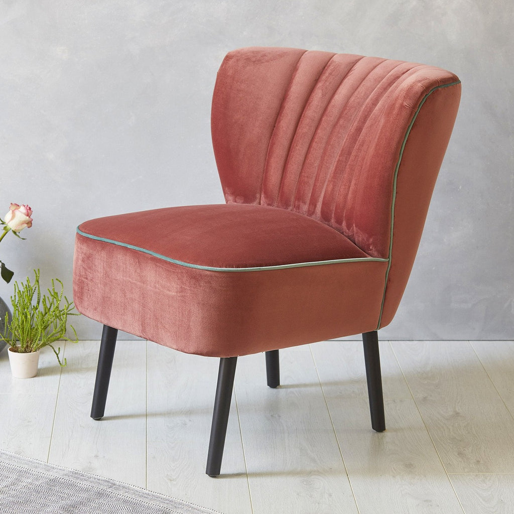 Lula Cocktail Chair, Blush Pink with Mint piping