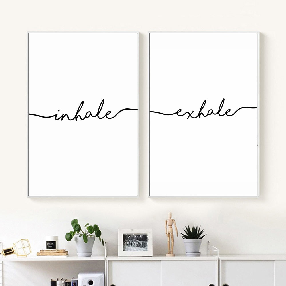 Inhale Exhale Canvas Prints - 2pc set