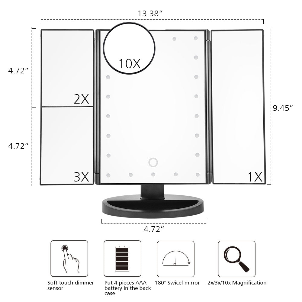 Trifold LED Touch Sensor Makeup Mirror