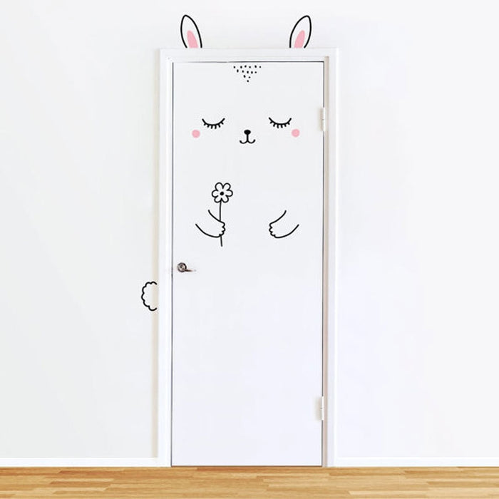 Sleepy Bunny Door Decal