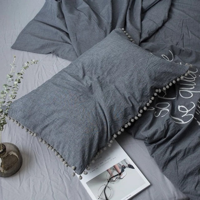 Tassel Cotton Pillowcase - 4 colours