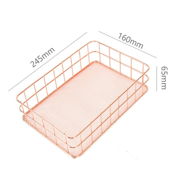 Rose Gold Metal Storage Organisers