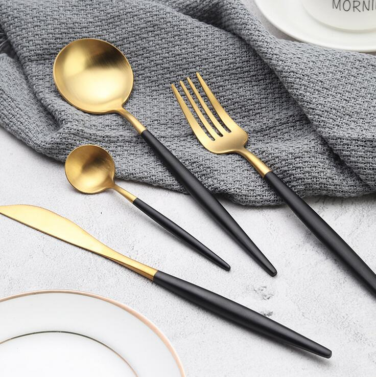 Deluxe 24 Piece Black & Gold Silverware Set