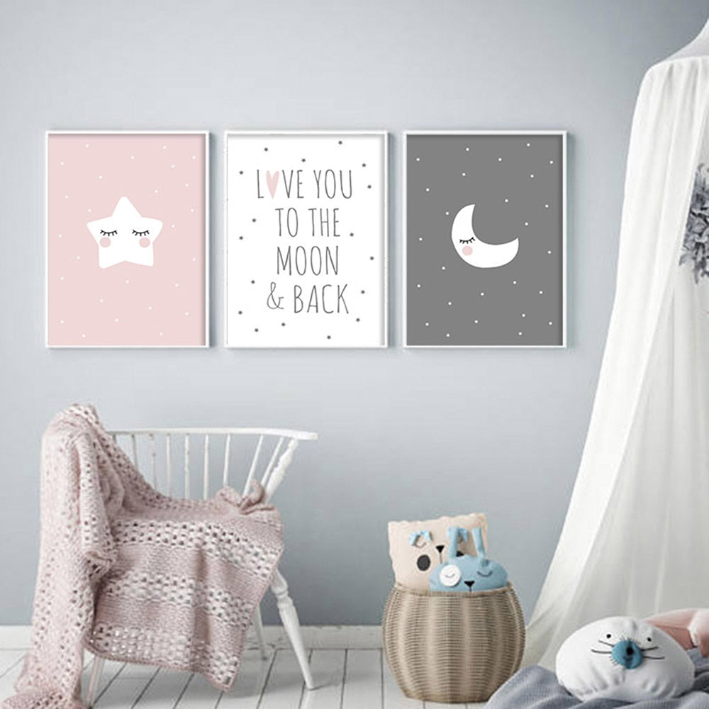 Love You To The Moon & Back Canvas Prints - 3pc set