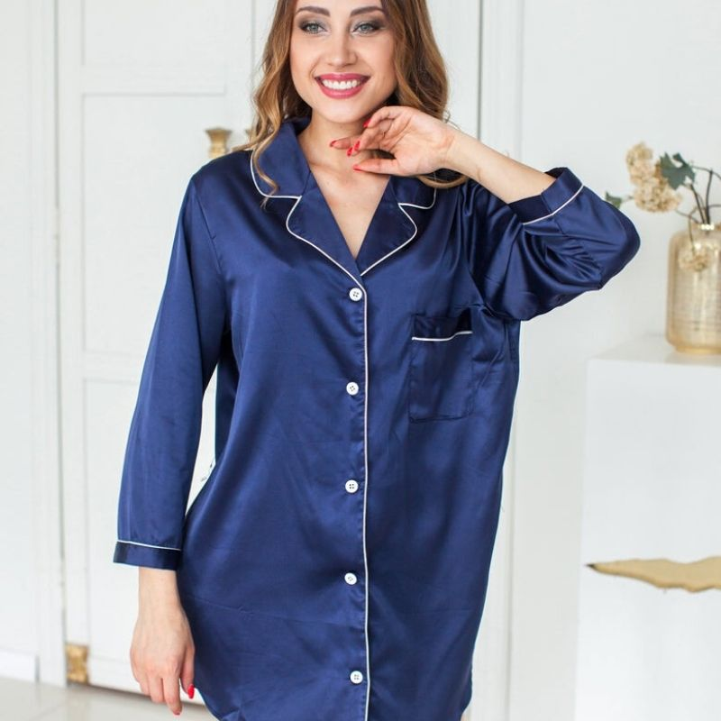 Satin Sleepshirt - Navy - Lovelei Ltd