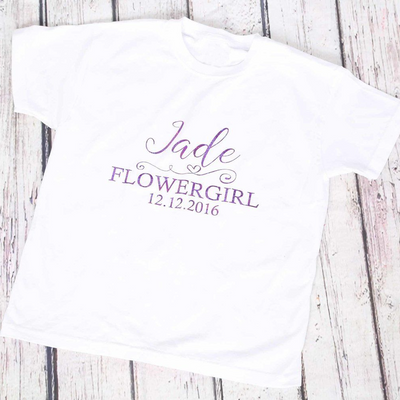 Personalised Flowergirl T-shirt with Scroll Heart - Lovelei Ltd