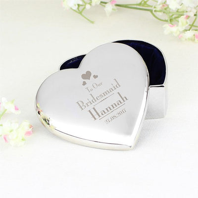 Personalised Decorative Wedding Bridesmaid Heart Trinket Box - Lovelei Ltd
