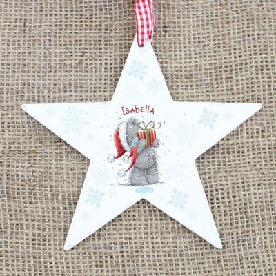 Personalised Me To You  Wooden Star  Tree Decoration - Lovelei Ltd
