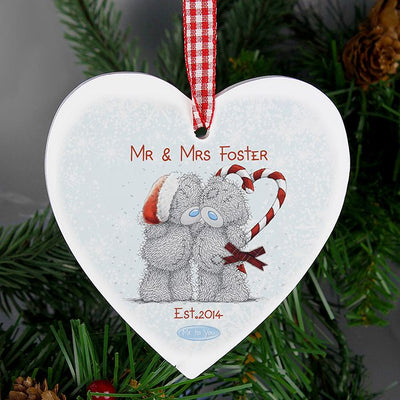 Personalised Me To You Couple Wooden Heart  Tree Decoration - Lovelei Ltd