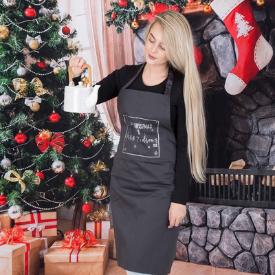 Christmas Star Square Apron - Charcoal - Lovelei Ltd