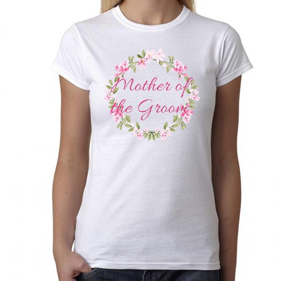 Mother of the Groom  Wreath Design  Fitted TShirt - Lovelei Ltd