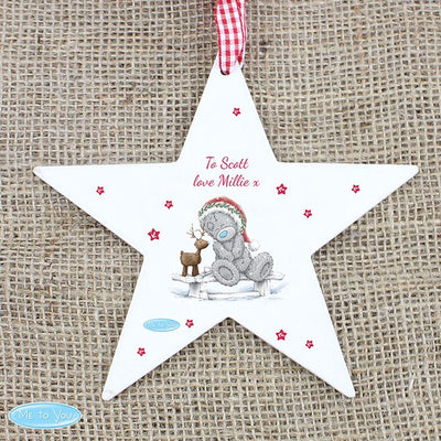 Personalised Me To You Reindeer Wooden Star  Tree Decoration - Lovelei Ltd